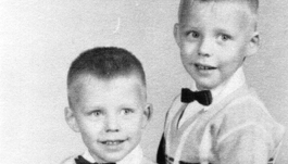 Charlie and his twin brother at age 4