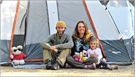 Brent, wife and daughter at campsite